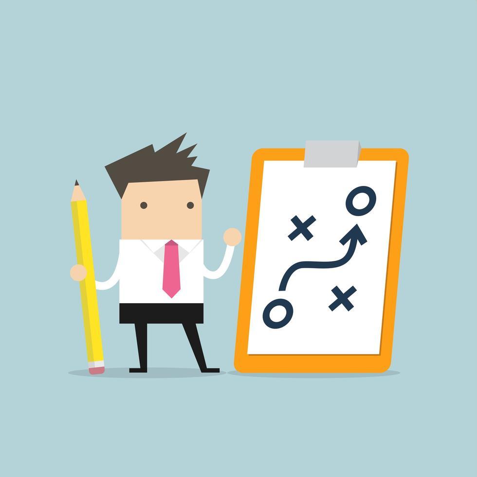 Empresario con lápiz y papel del concepto de estrategia de planificación vector