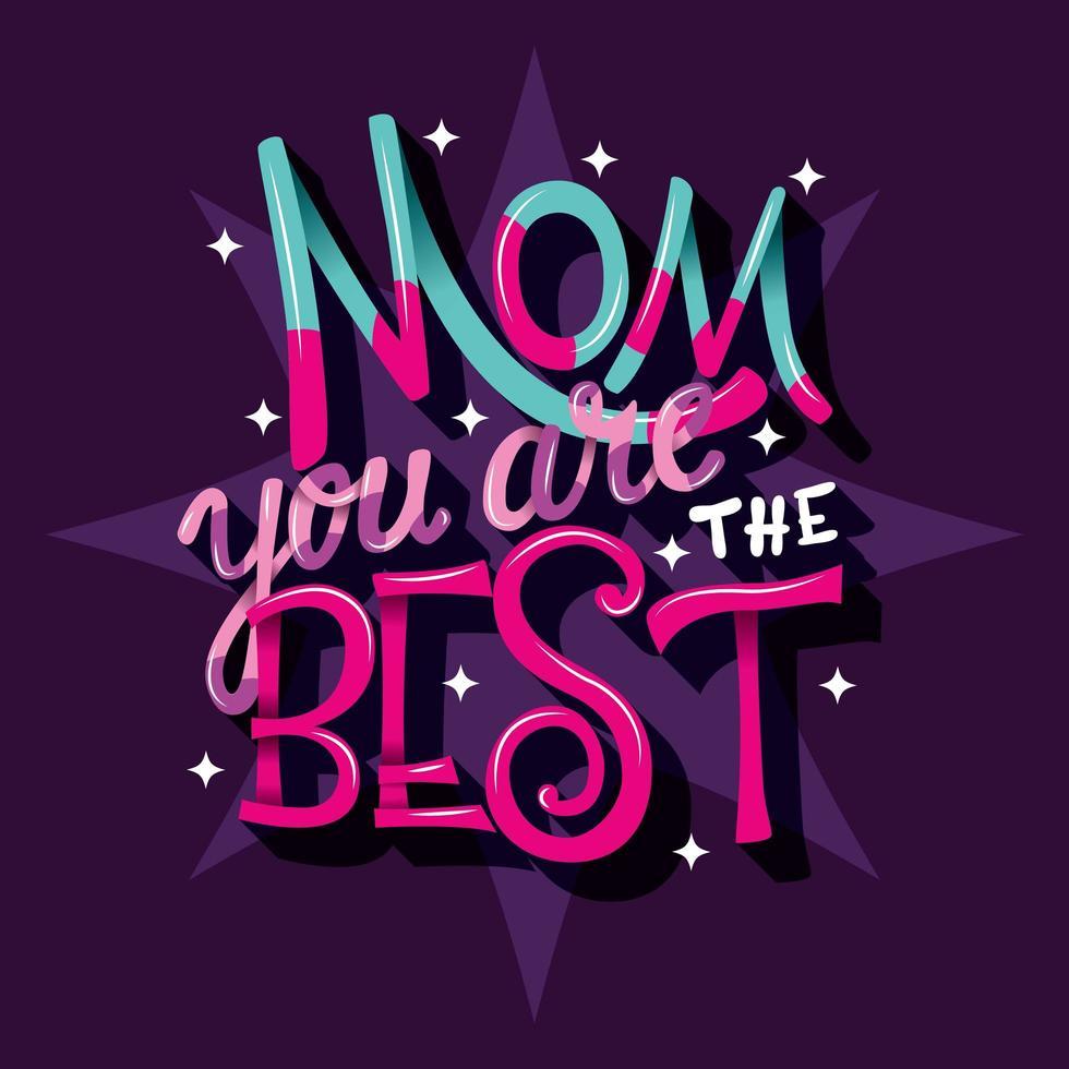 Mother's Day Lettering zegt mam dat je de beste bent vector