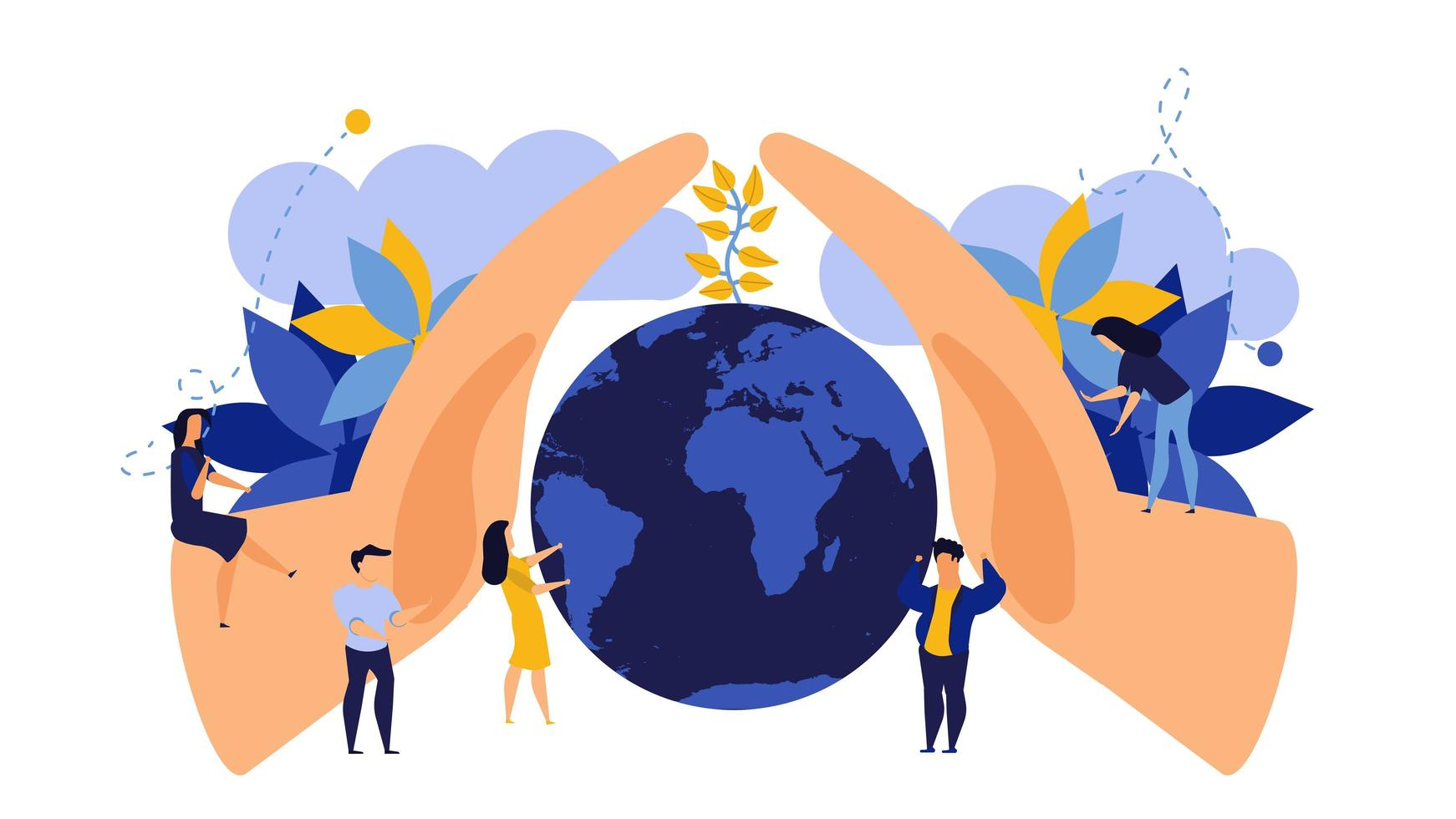 Salvar o dia da terra conceito design plano vetor