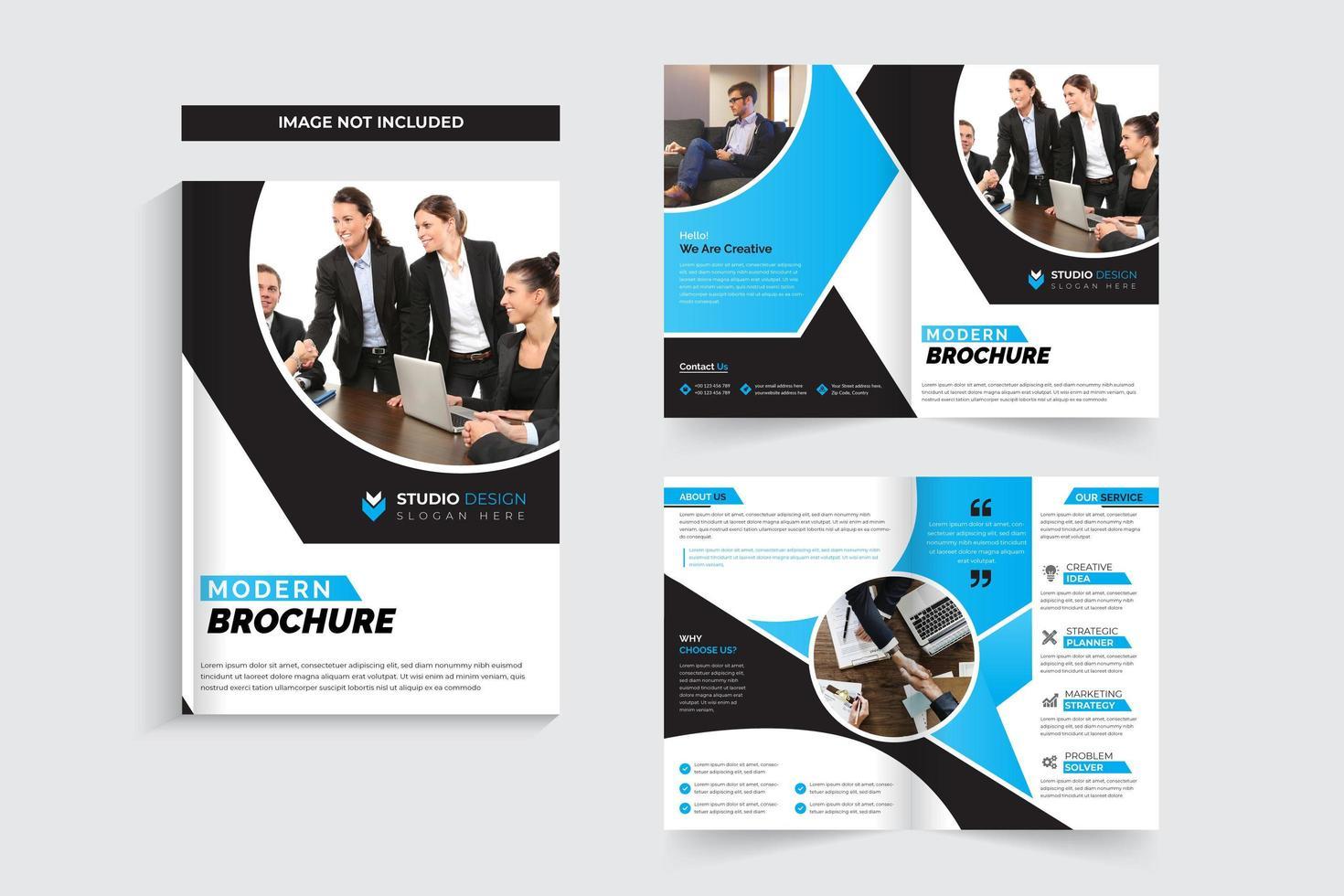 Diseño de plantilla de folleto corporativo de recorte circular vector