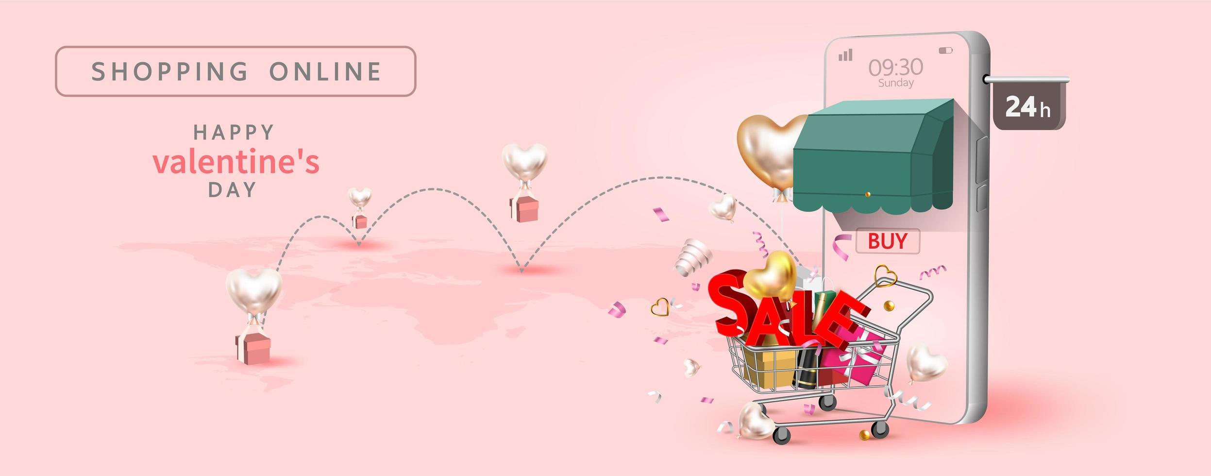 Valentijnsdag met smartphone. vector