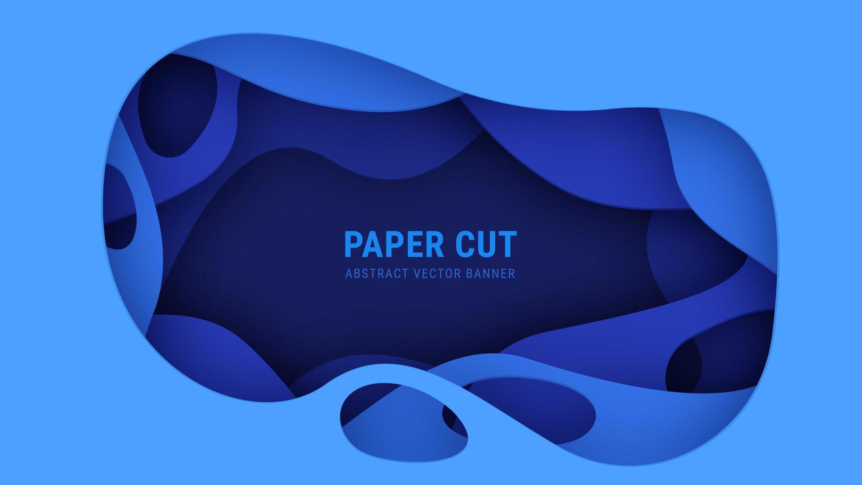 Banner de Vector de corte de papel azul abstracto 3D