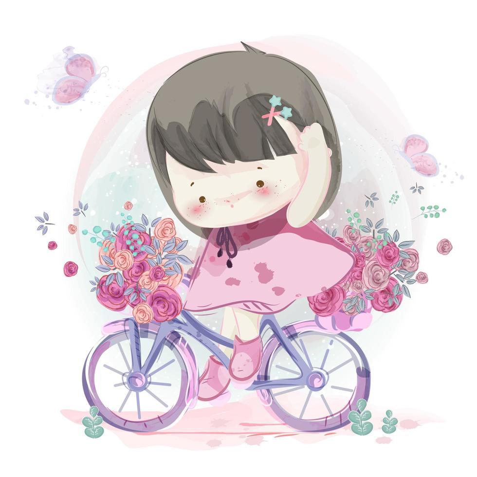 Handritad liten flicka som cyklar vektor