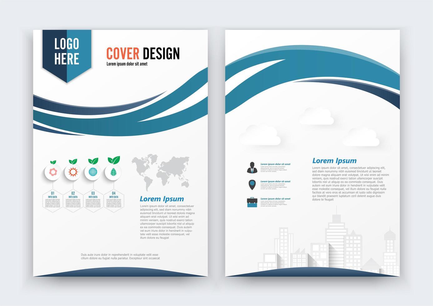 Diseño de folleto Flyer Curve, portada y contraportada de color azul vector