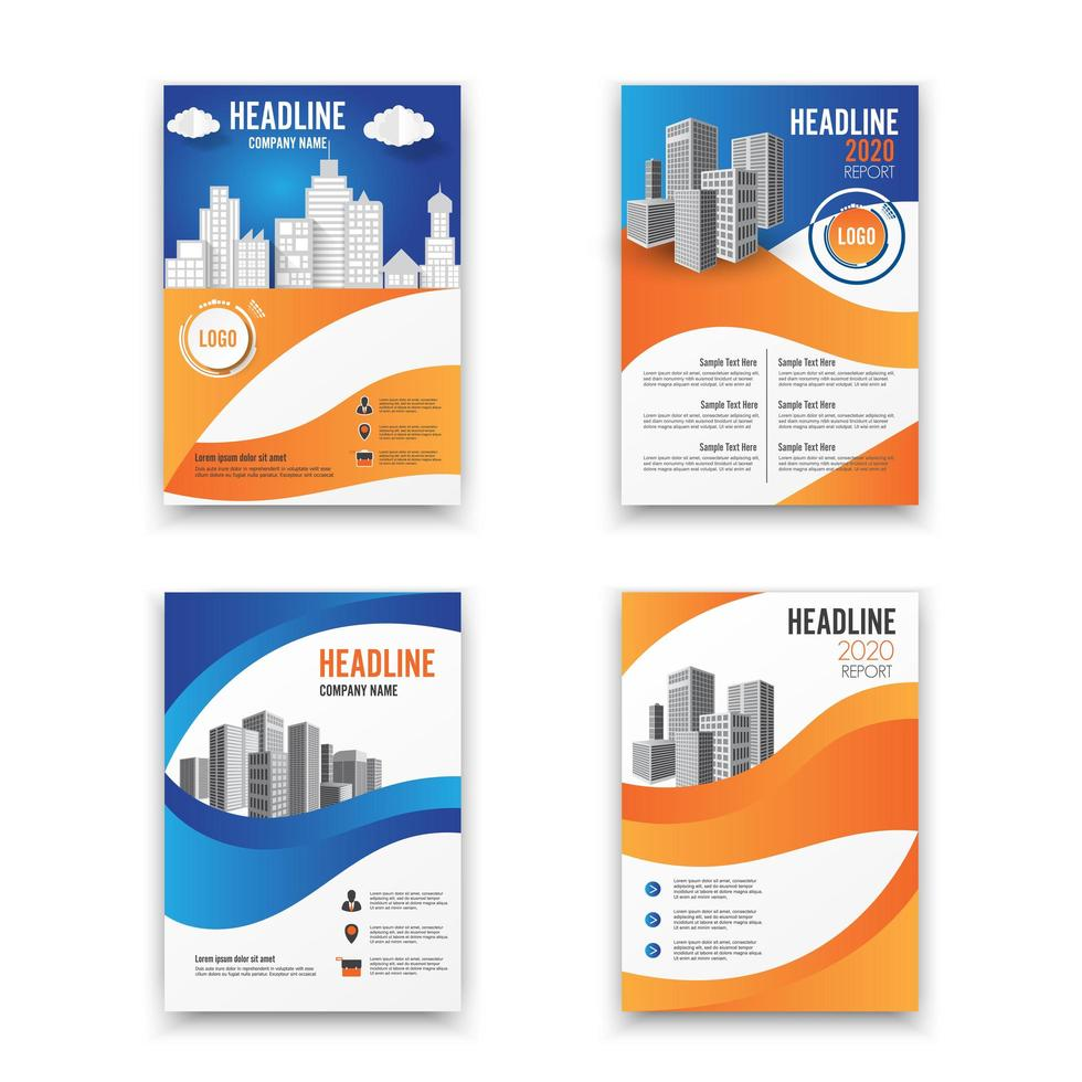 Annual report template set with blue and orange curved design and cityscape vector