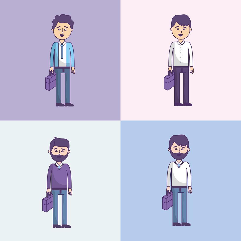 Establecer empresario con maletín vector