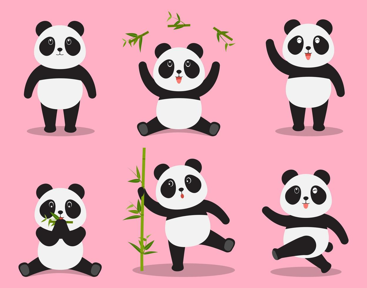 Cute panda cartoon vector set in different emotion on pink background