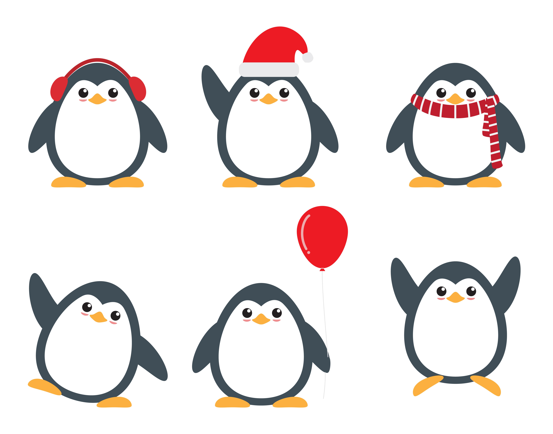 Cute Penguin Cartoon Characters Set In Different Poses Download Free Vectors Clipart Graphics Vector Art