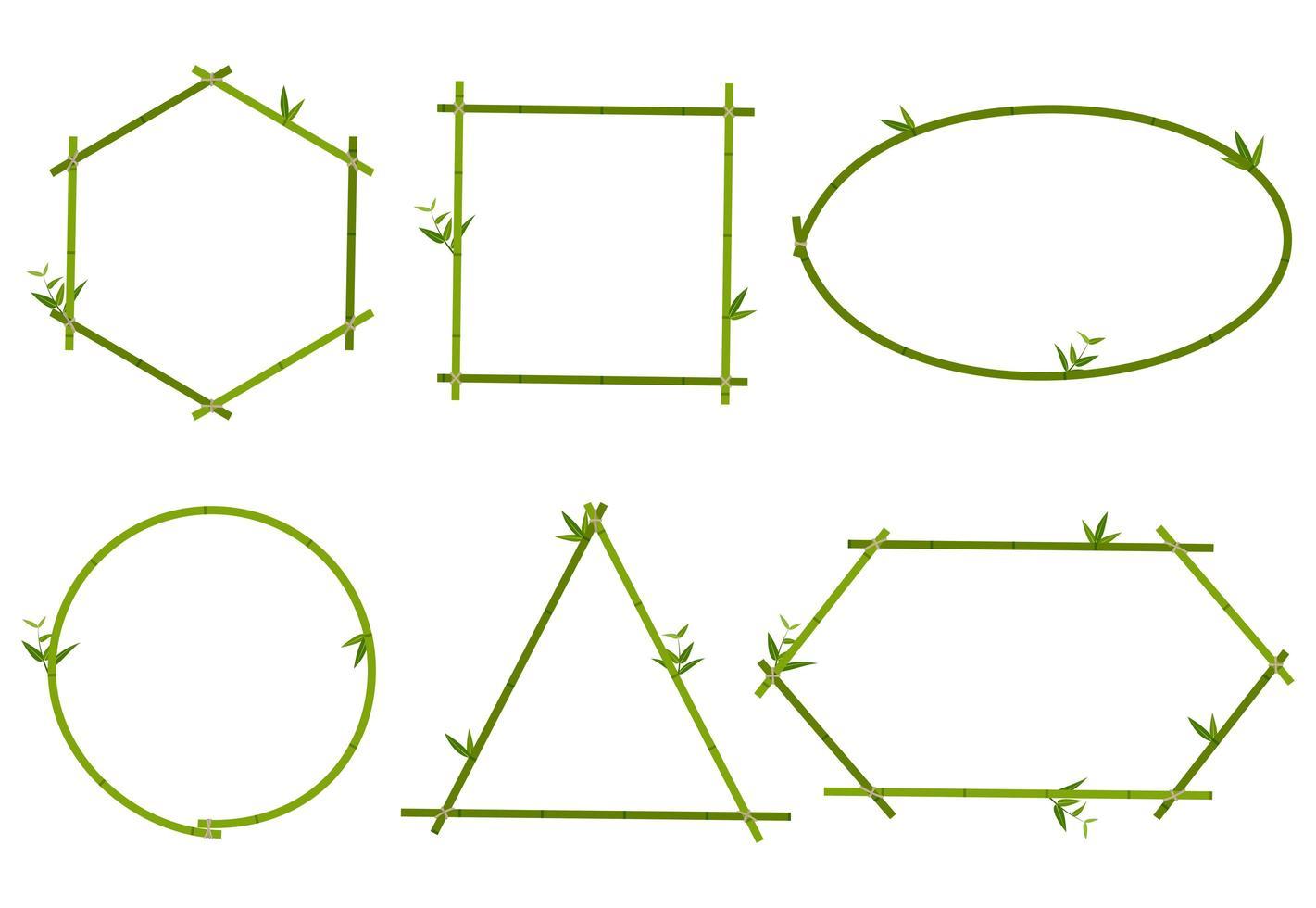 Samling av grön ram för bambu vektor