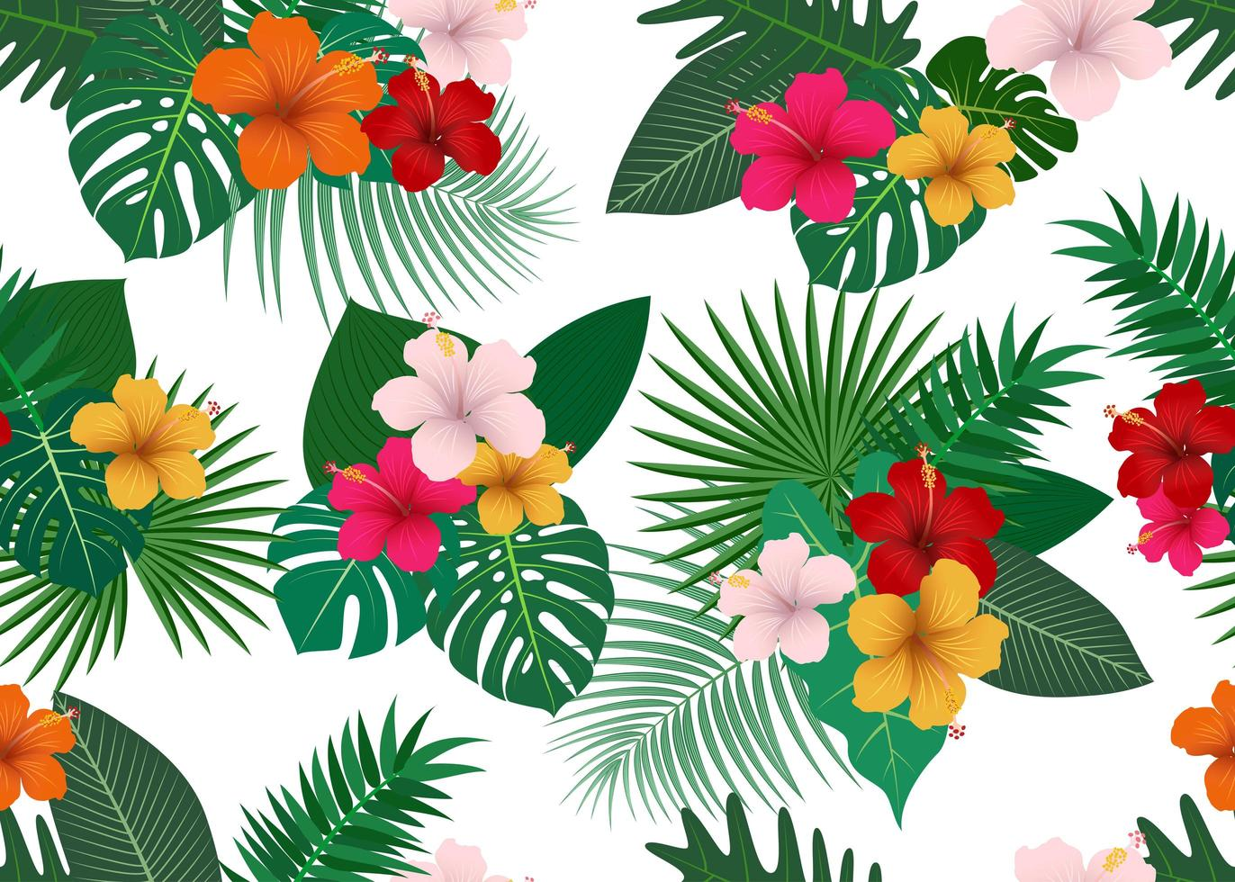 Seamless Pattern Of Tropical Flowers With Leaves On White