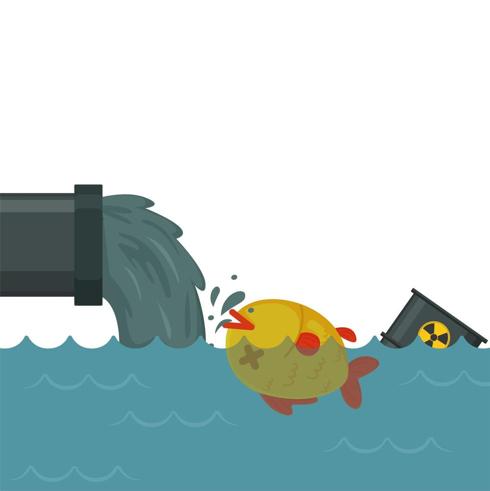 Toxic chemicals into the sea, harming fish poster with space for text vector