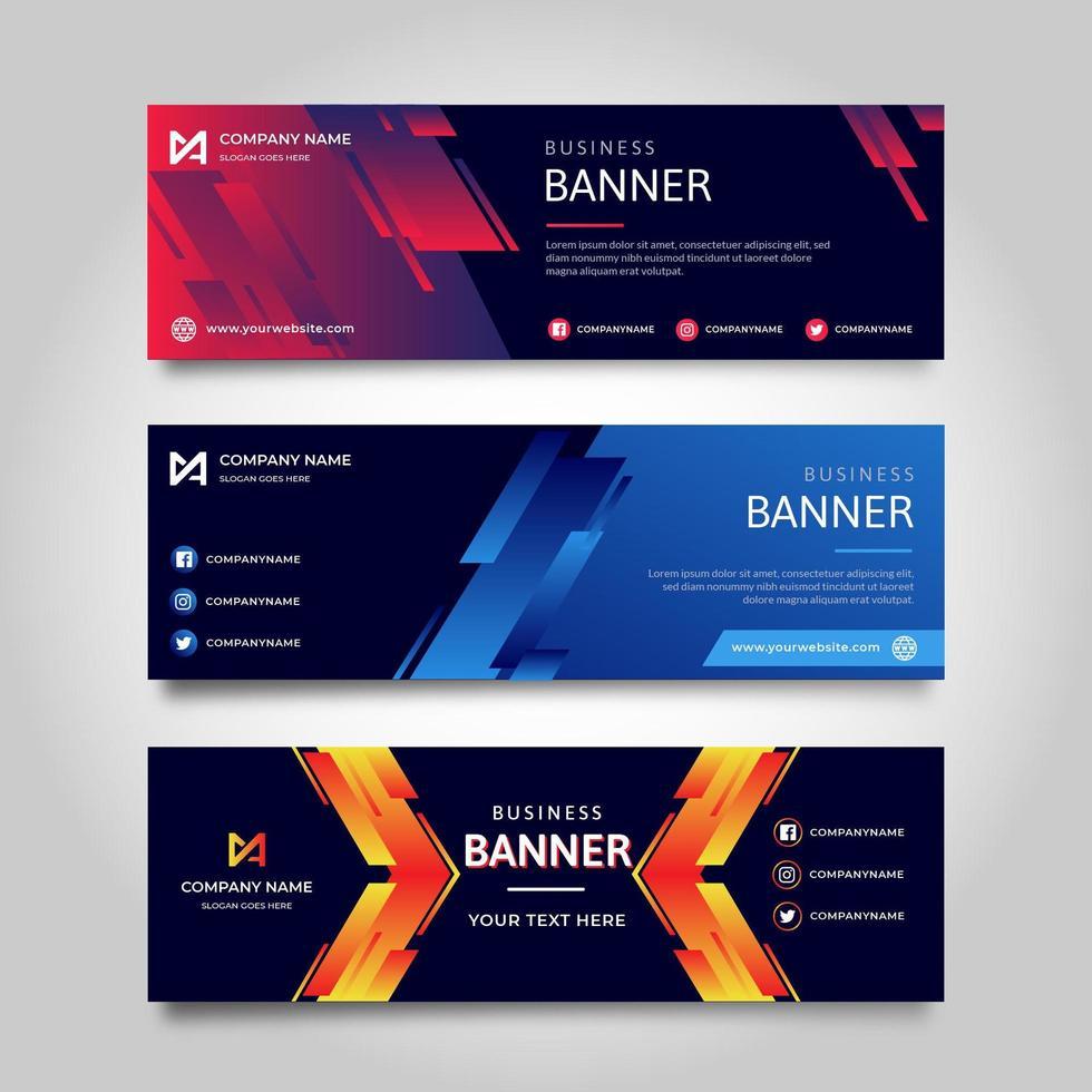 Flat gradient banner template vector
