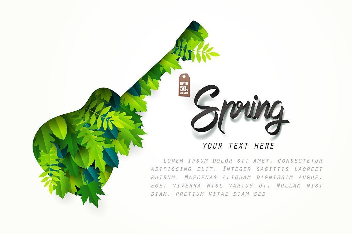 Banner de venta de primavera en papel de arte de guitarra con hojas dentro