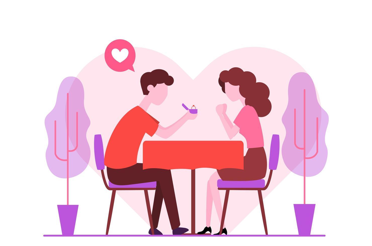 Romantisches Engagement Vorschlag Design vektor