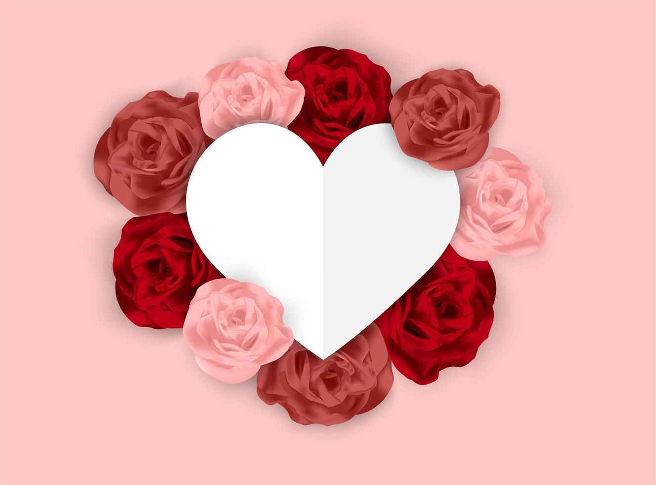 Valentines pink background with blank paper cut style heart surrounded by roses
