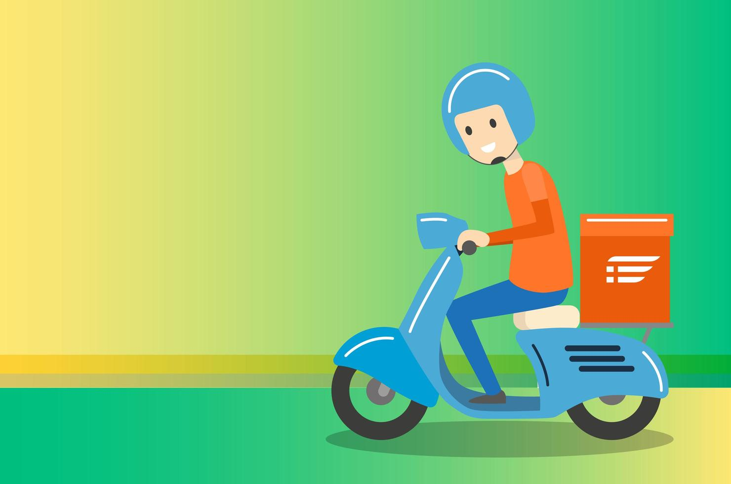 Delivery Boy Ride Scooter Motorcycle Service vecteur
