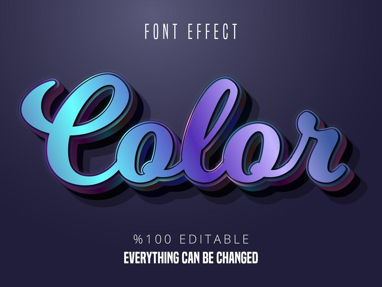 Colorful gradient font effect vector