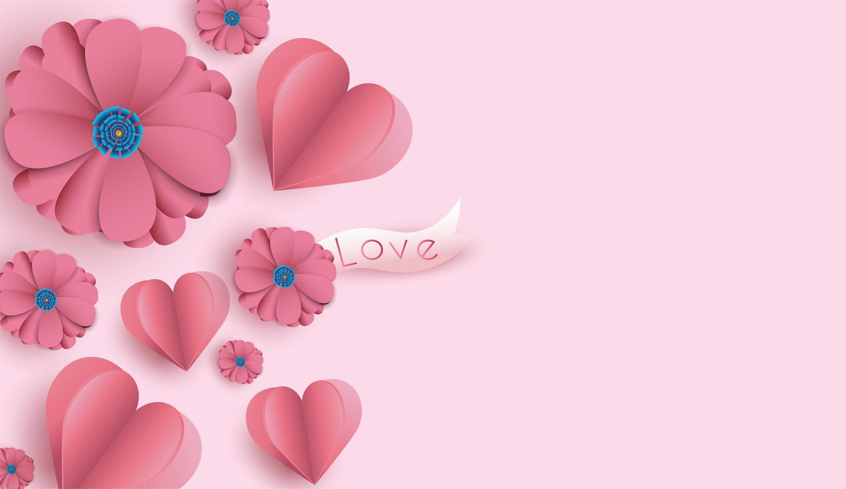 Valentine's Day background with paper cut flowers and hearts