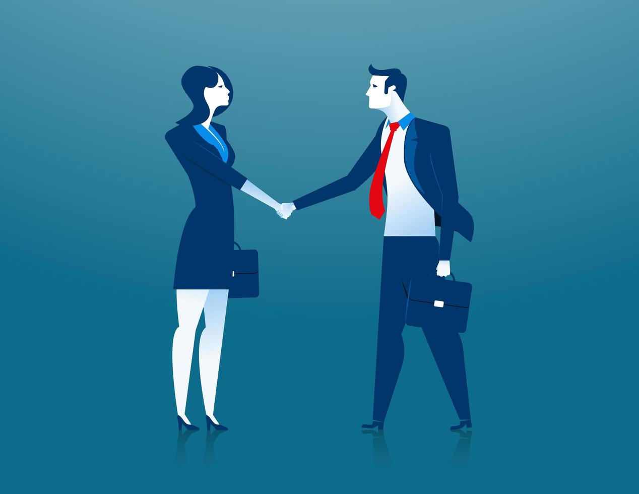 Business woman and business man shaking hands vector