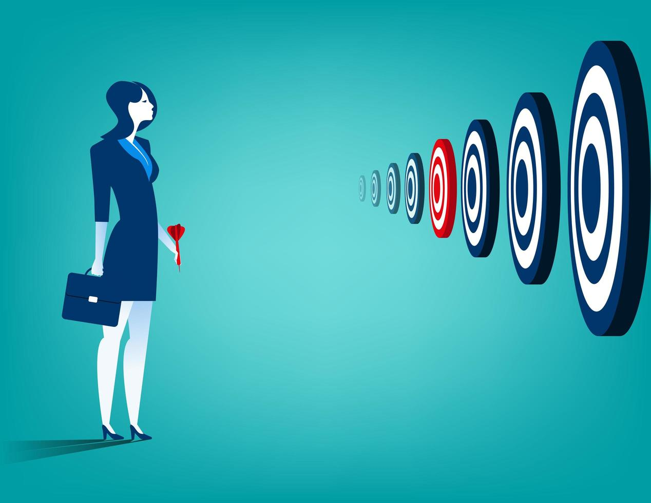 Businesswoman and multiple targets vector