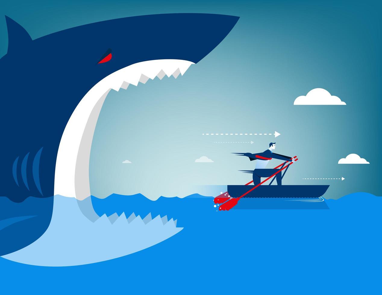 Empresario escapa de tiburón en un bote vector