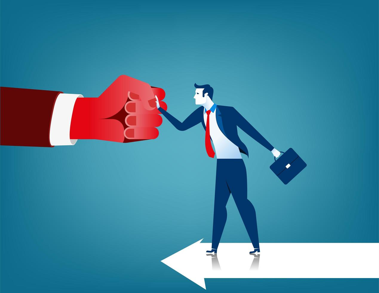 Businessman fighting obstacle in the form of red hand vector