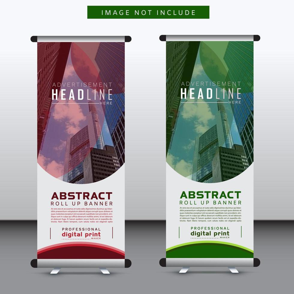 Banner vertical corporativo de diseño curvo rojo y verde vector