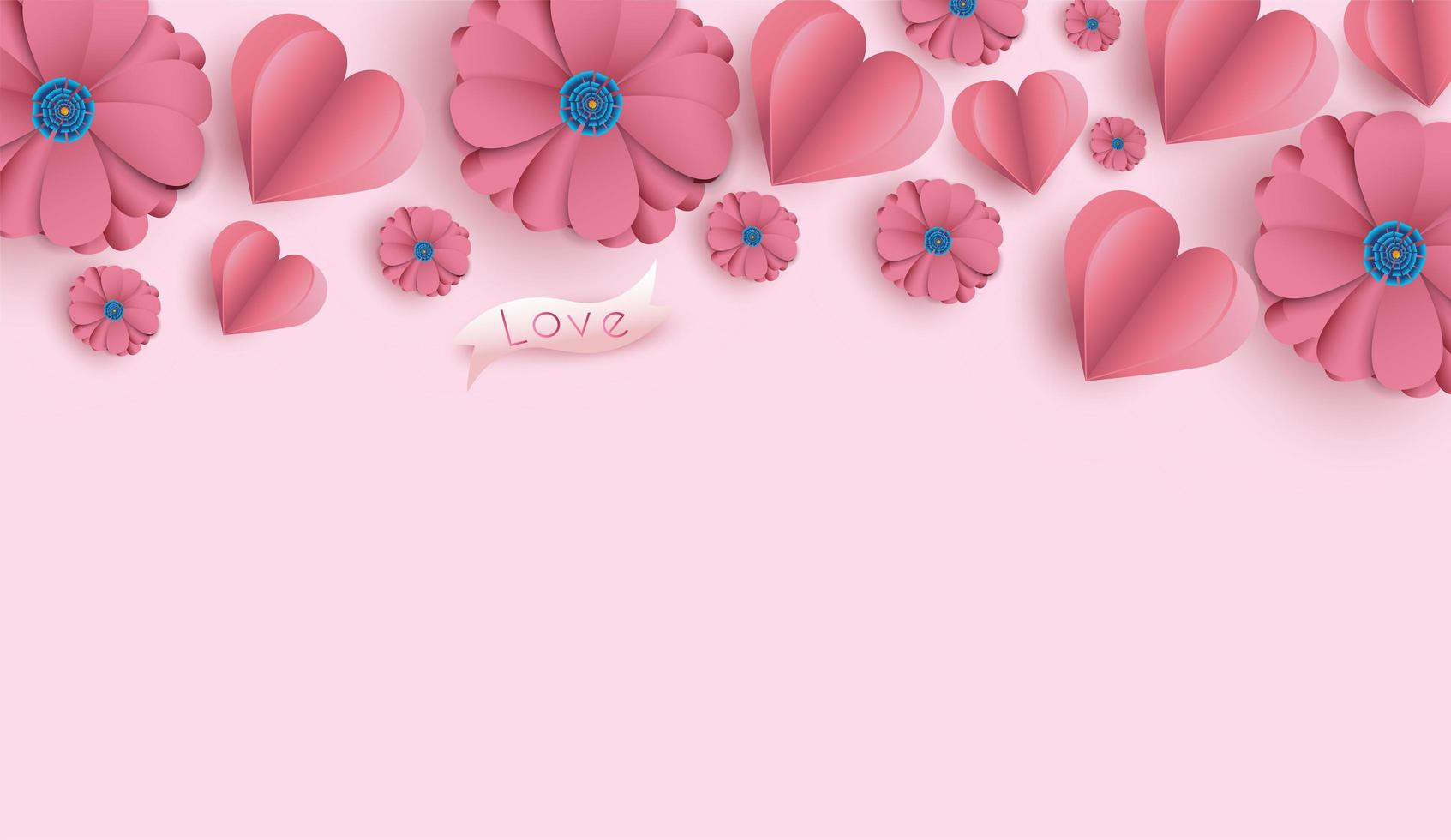 Valentine's Day background with paper cut flowers and hearts.