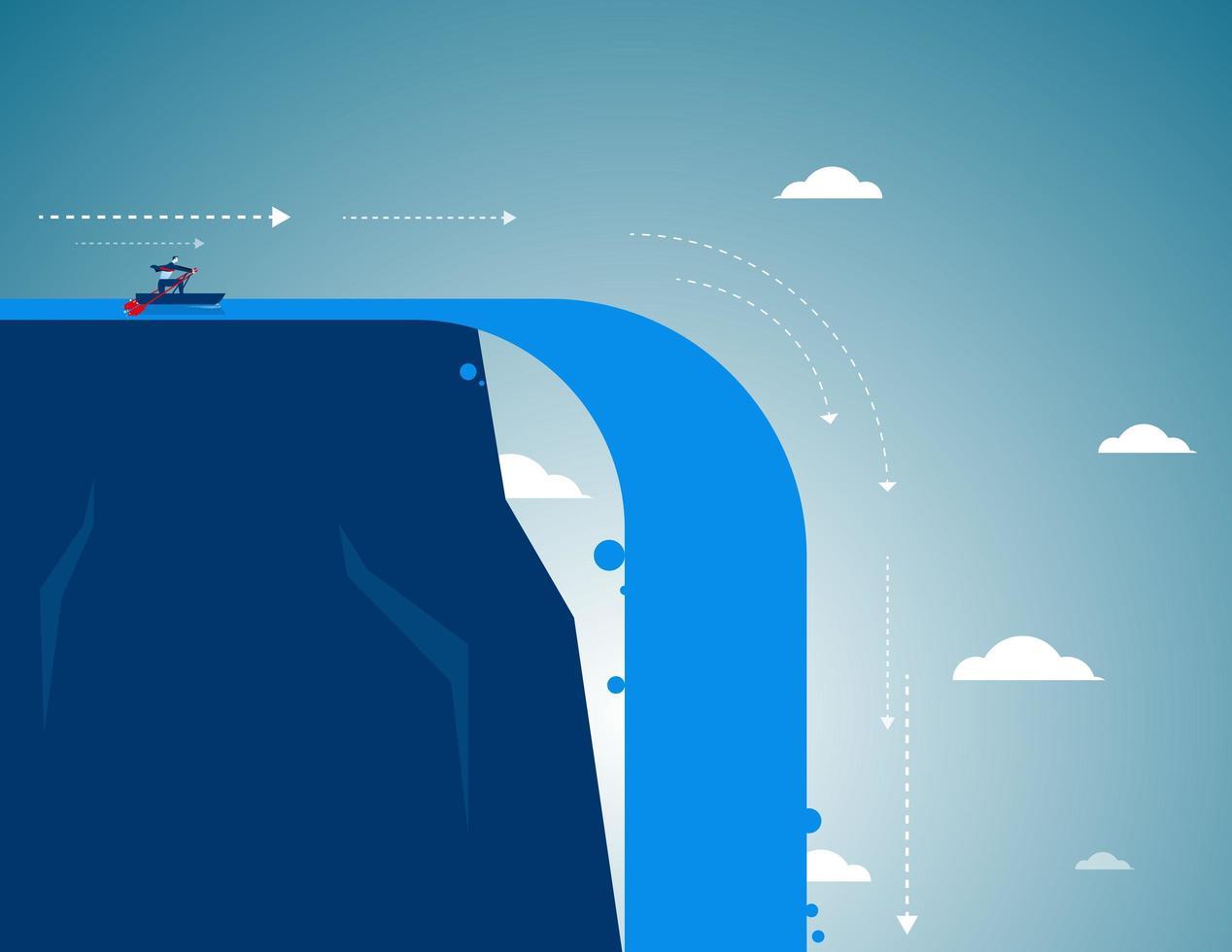 Kaufmann Rudern in Richtung Wasserfall vektor