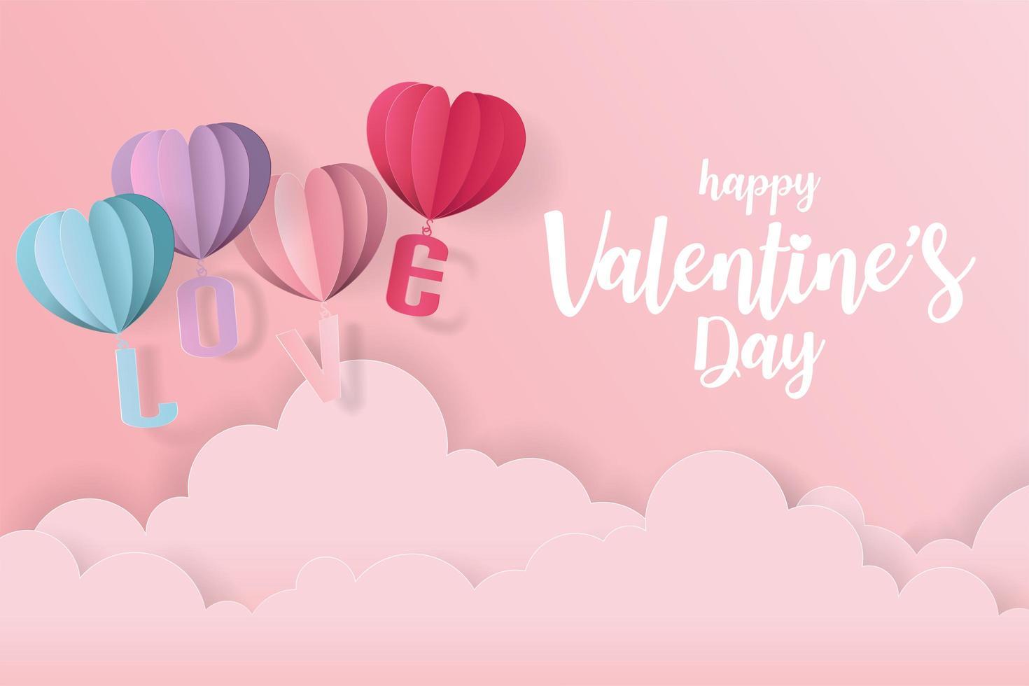 Tarjeta de amor y San Valentín con globos de corazón y nubes en papel cortado estilo vector