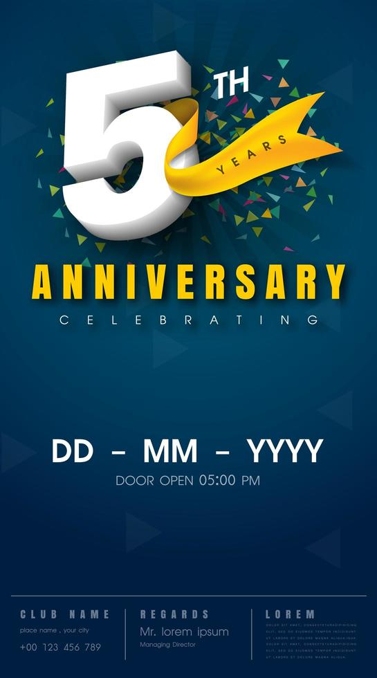golden 5th anniversary sign and logo for gold celebration symbol - Download  Free Vectors, Clipart Graphics & Vector Art