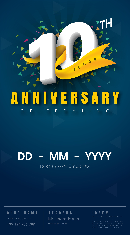 10th anniversary invitation card template - Download Free ...