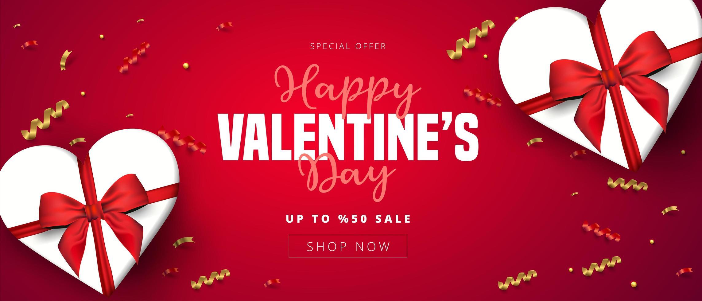 Banner horizontal de venta de San Valentín con cajas de corazón y confeti vector