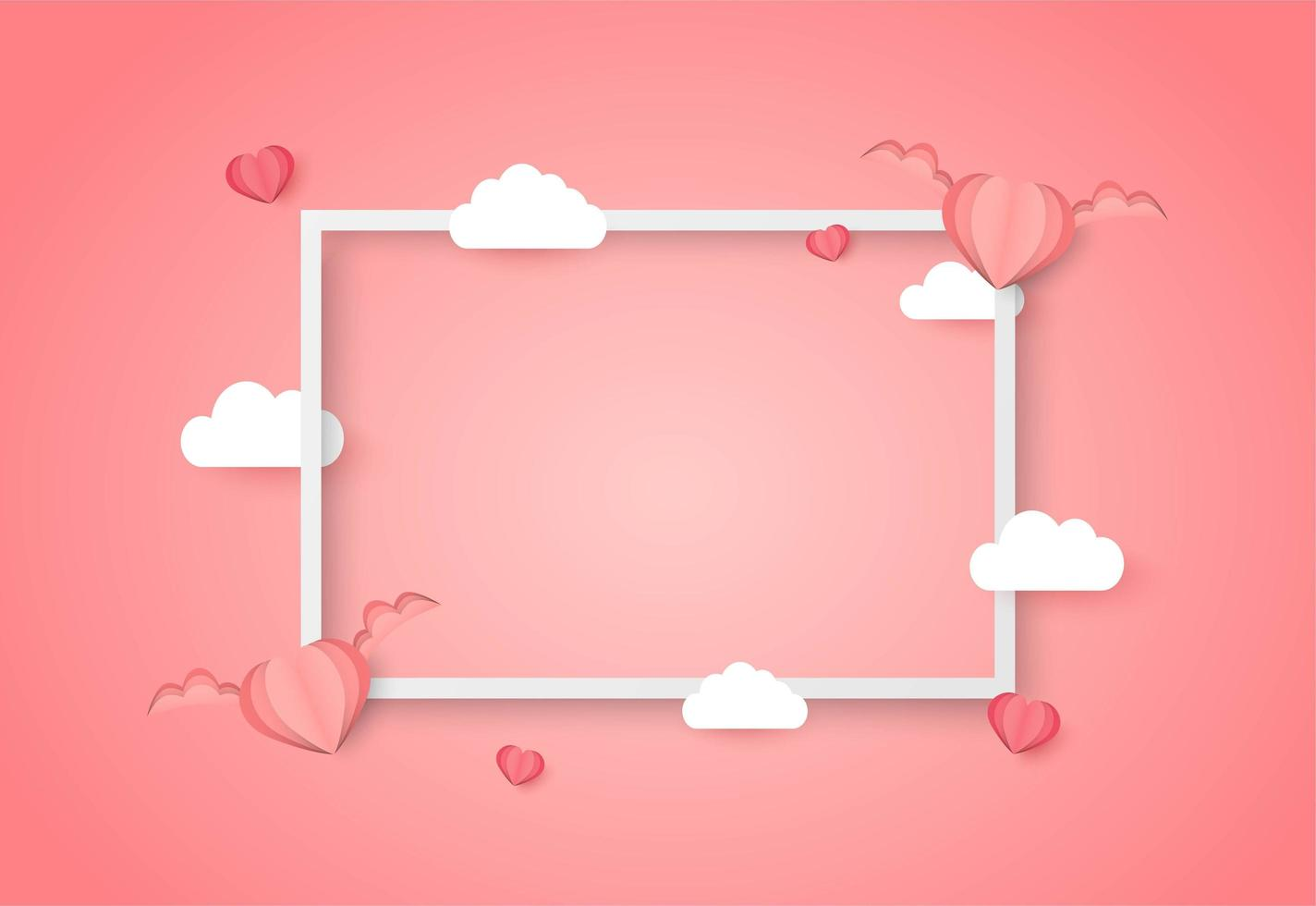 Valentines day frame with blank space and winged hearts and clouds