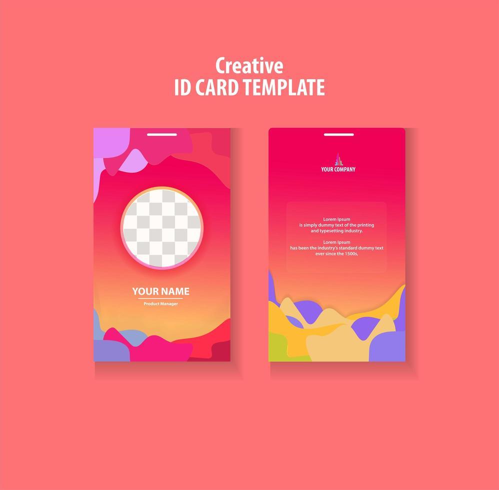 Plantilla de tarjeta de identificación colorida vector