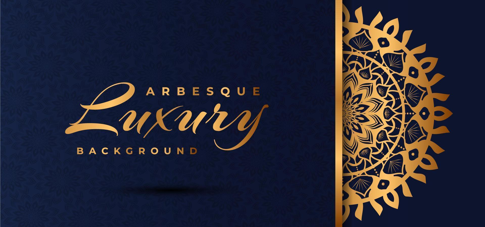 Diseño de mandala de lujo dorado con patrón de arabescos azules vector