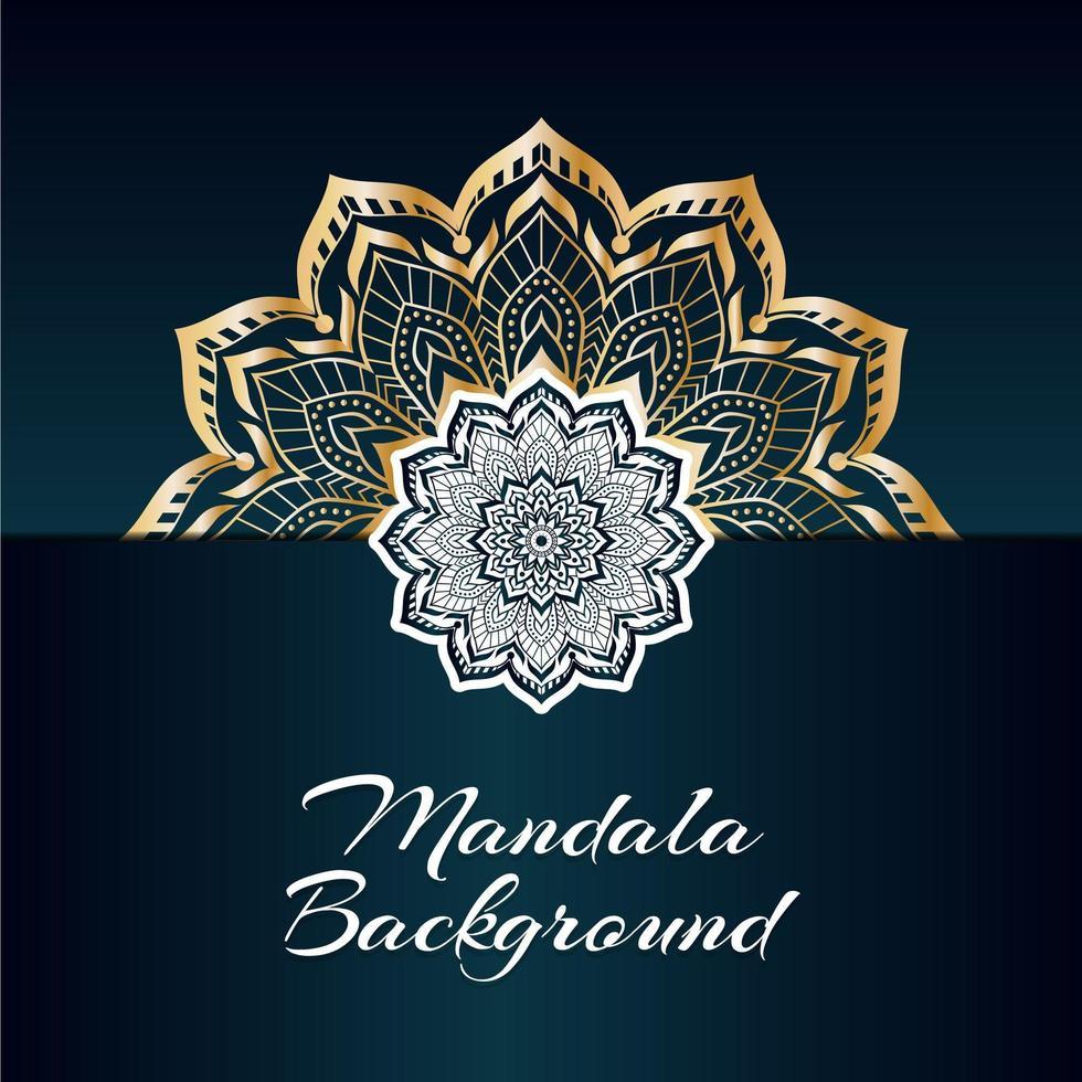 Diseño de mandala dorado y blanco de lujo con espacio de copia vector