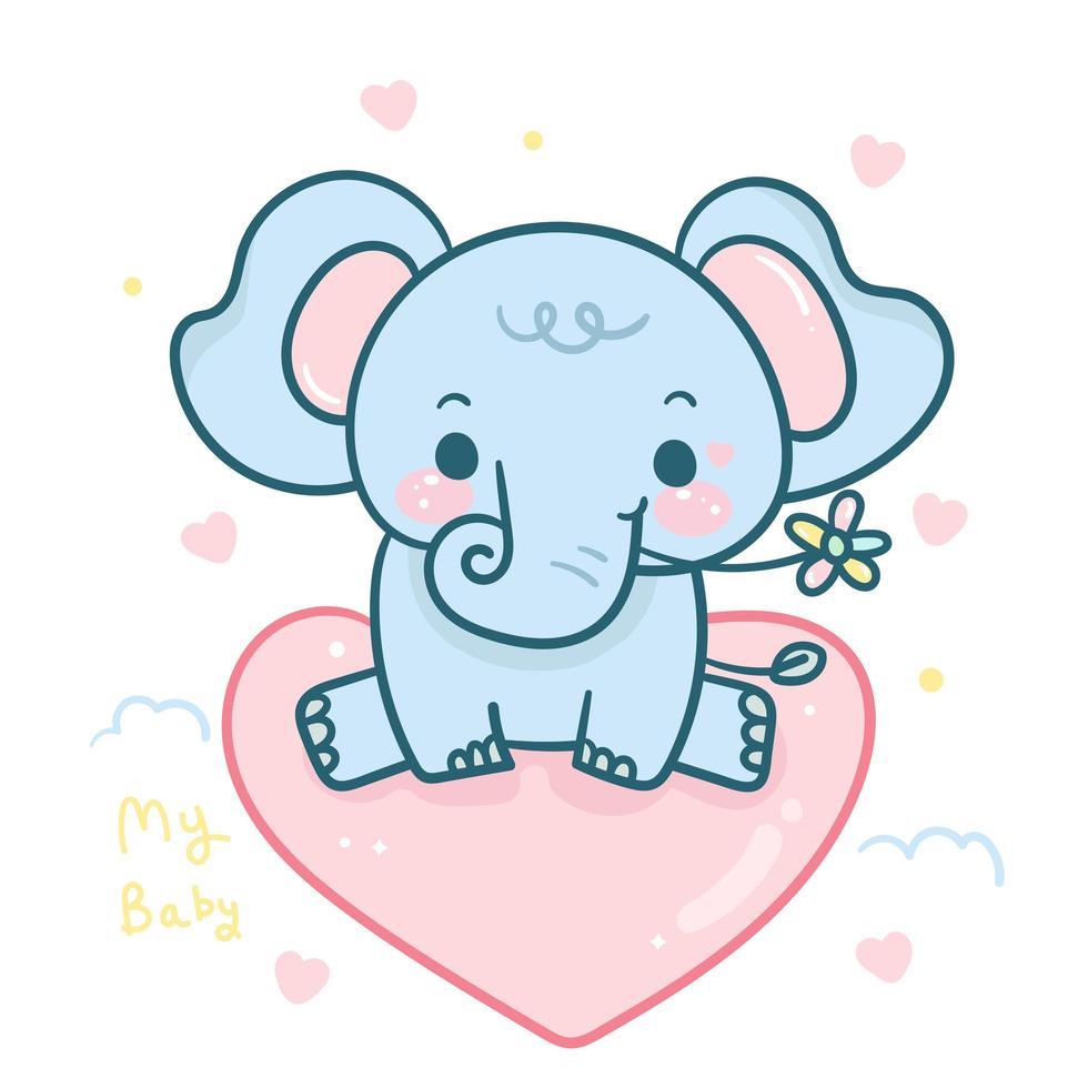 Bebé elefante de dibujos animados con flor sentada en globo de amor vector