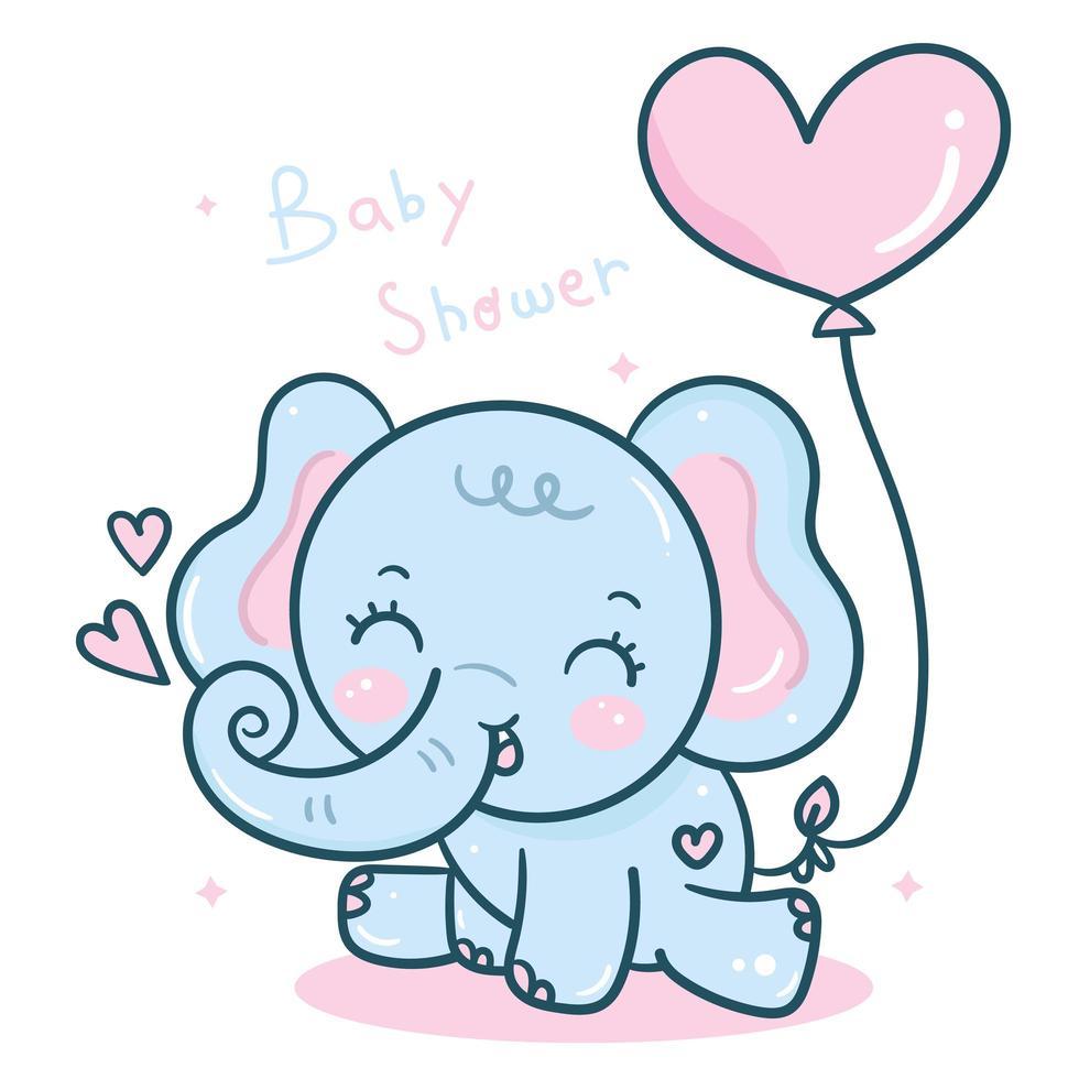 Dibujos animados de elefantes kawaii con globo de corazón para el día de san valentín vector