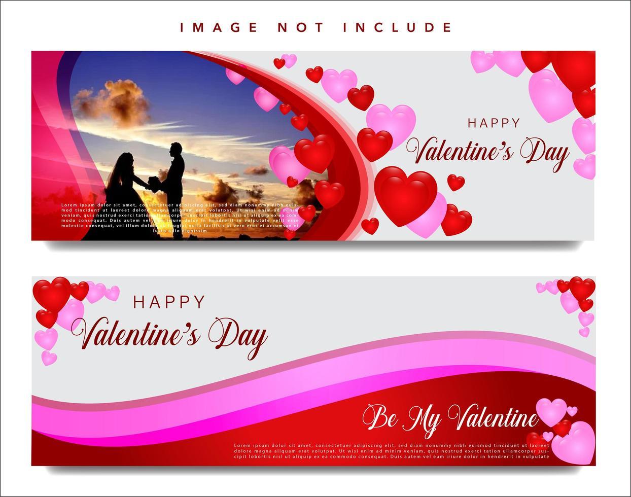 Valentins webbbaneruppsättning vektor
