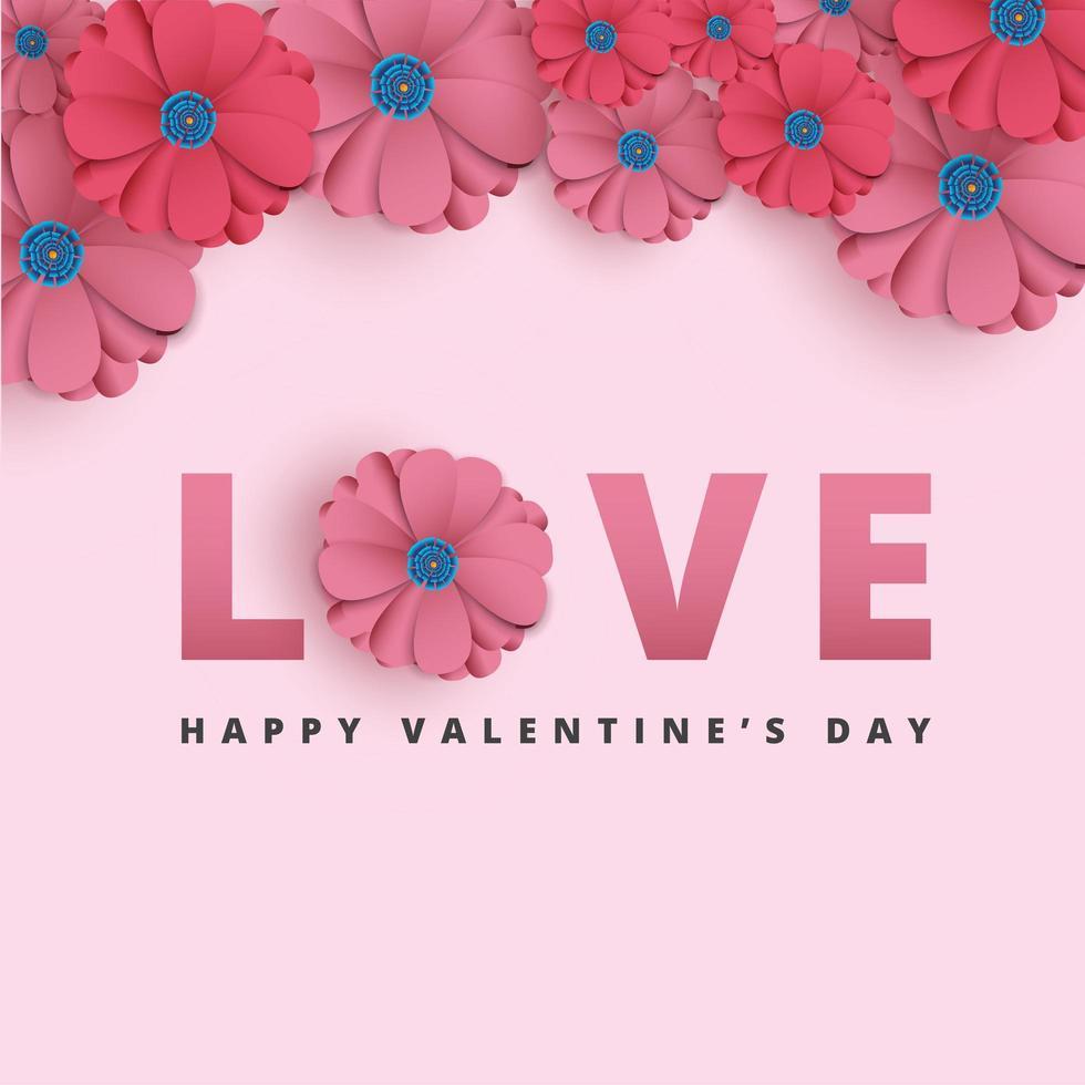 Fondo de San Valentín con flores de papel cortado vector