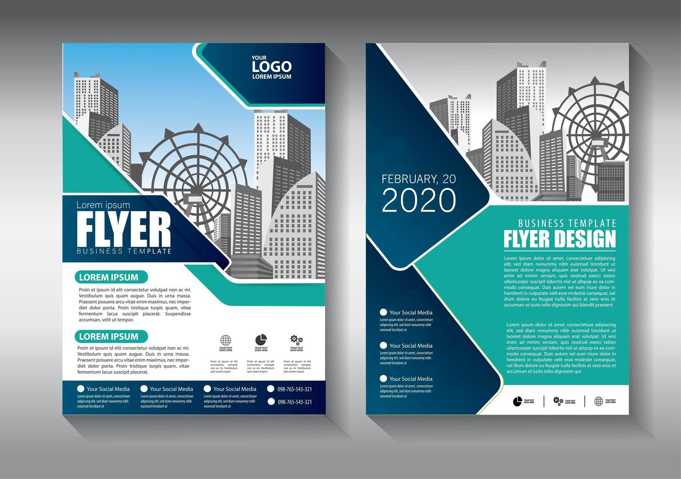 corporate flyer business template with diagonal design vector