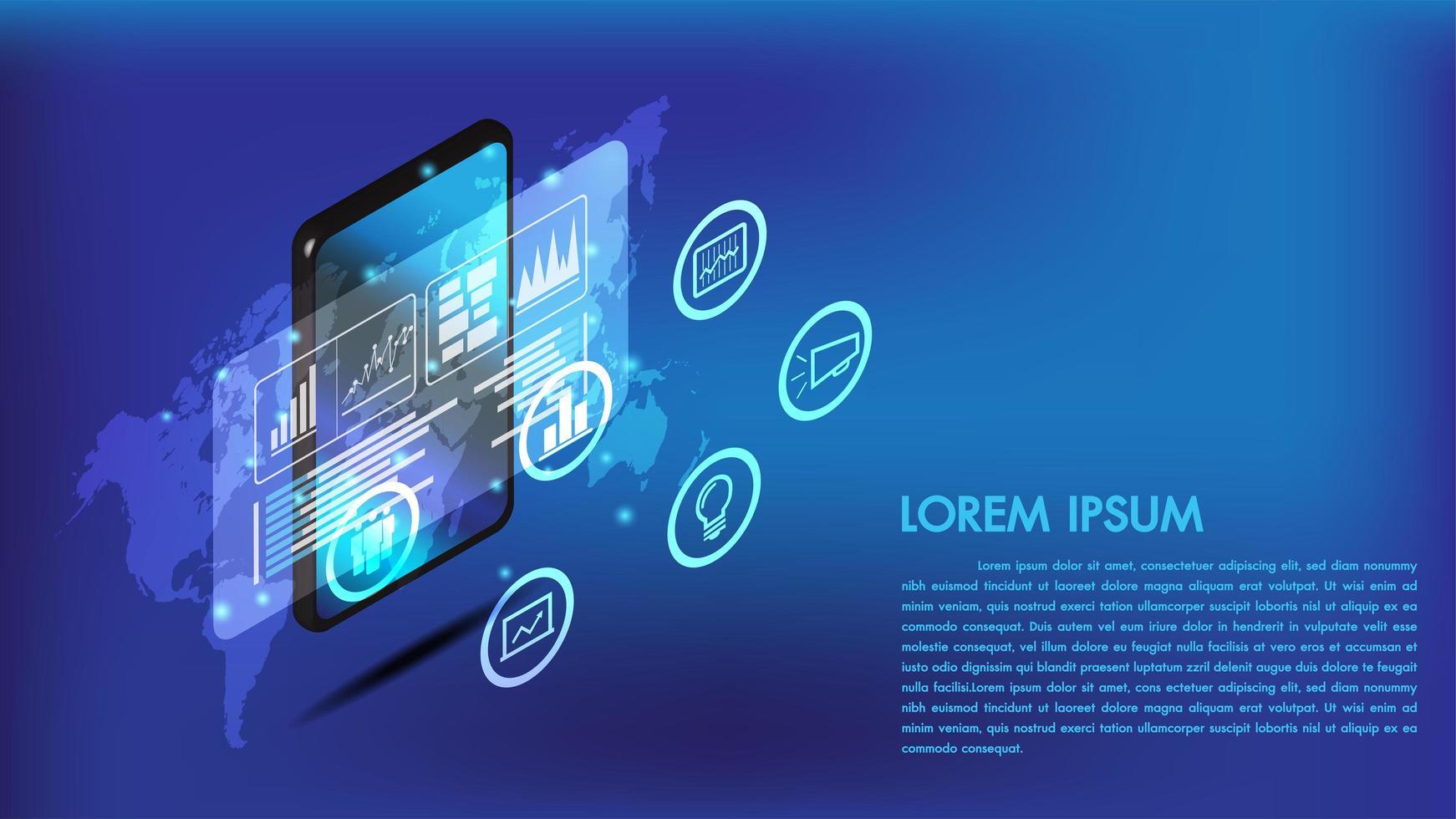 Interfaz 3d isométrica de teléfono inteligente o tableta vector