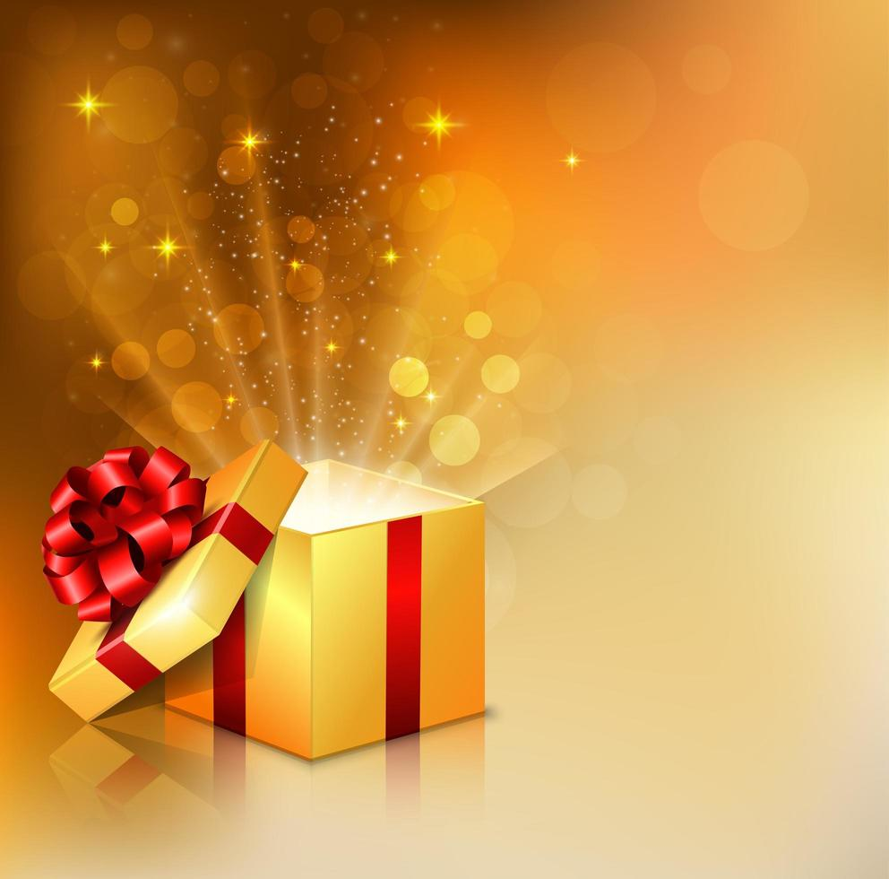 Opened sqaure gift box with bright rays of light vector