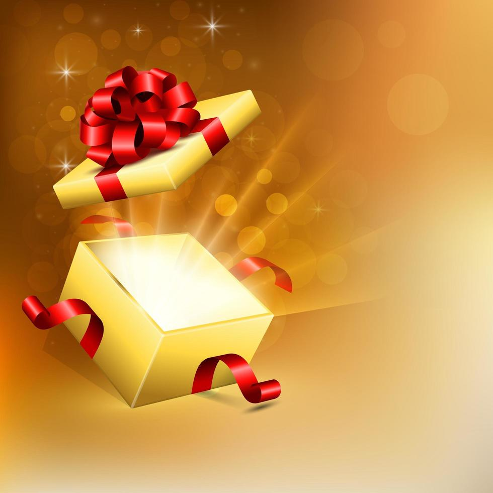 Opened square gift box with bright rays of light vector