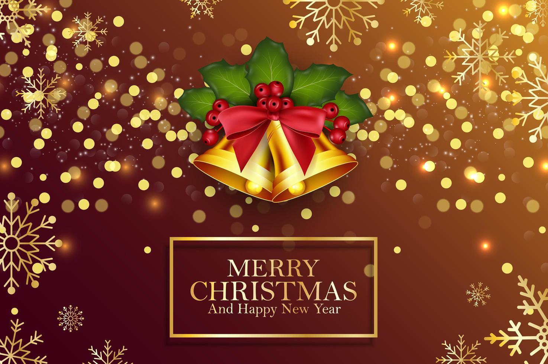 Fondo de Navidad campanas doradas y bayas de acebo vector