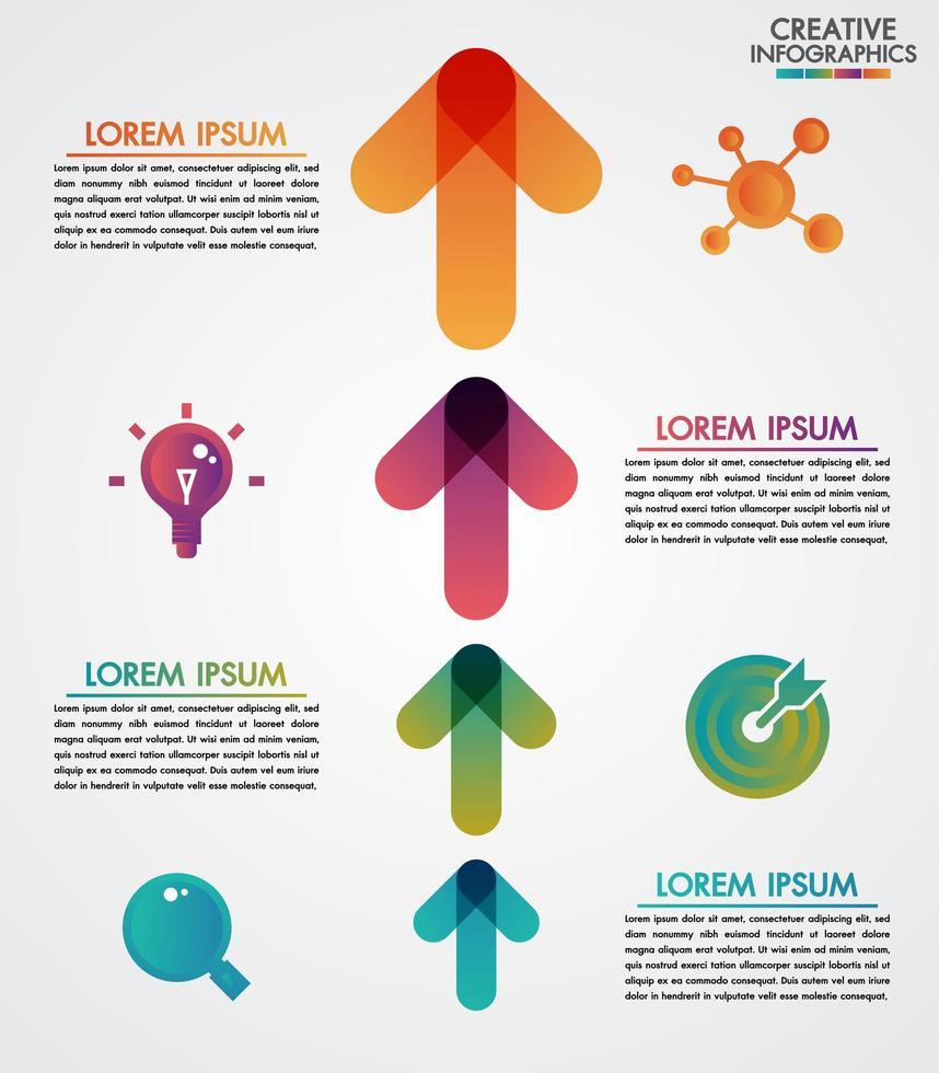 Modelo de infográficos do cronograma de setas de 4 etapas de vetor passo a passo