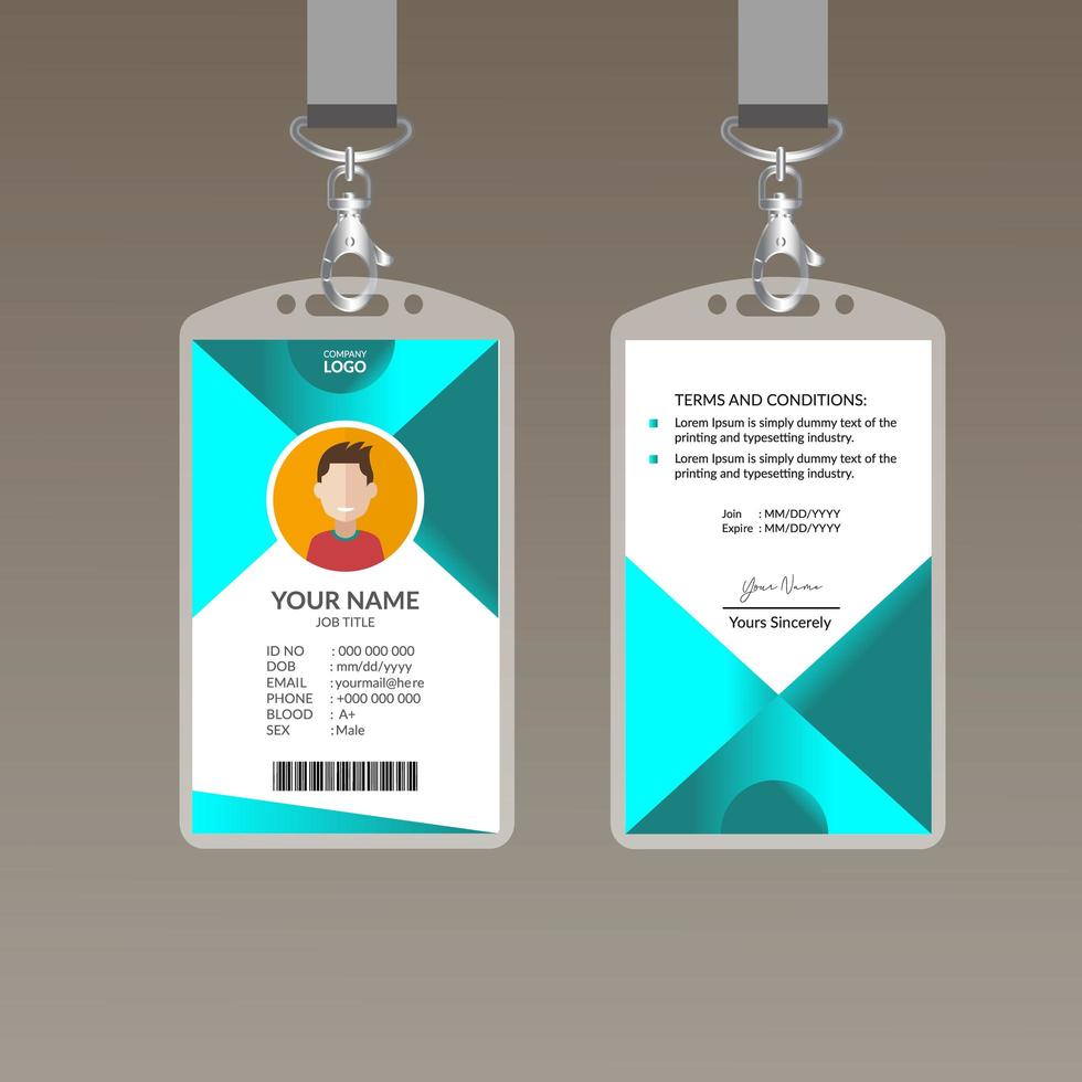 Modern ID Card Design Template 21 Vector Art at Vecteezy Within Company Id Card Design Template