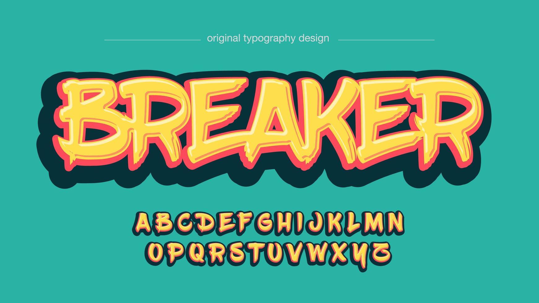 Brush Grafitti Yellow Bold Artistic Font vector