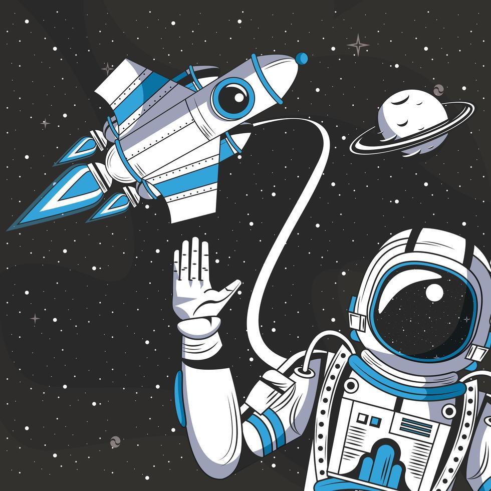 Astronaute dans la caricature de dessin de l'espace vecteur